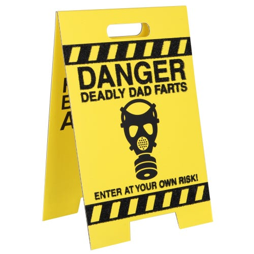 Dad's Farts Warning Sign Humour Birthday Card