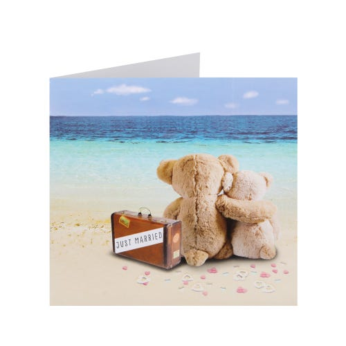 Bears On A Beach Wedding Day Card