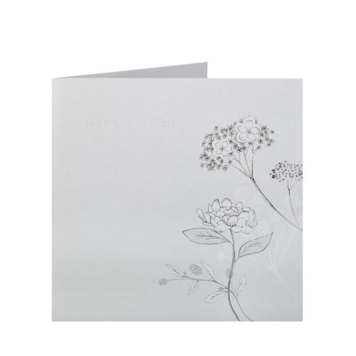 Silver Engraved Card with Flowers Sympathy Card