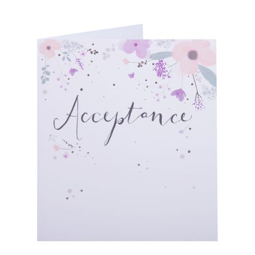 White Floral Acceptance Card