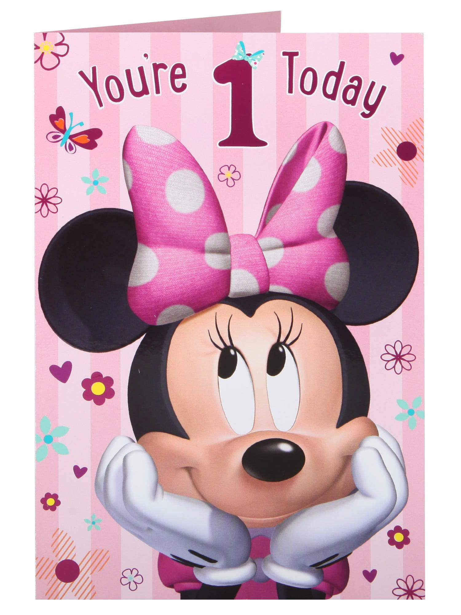 Disney Minnie Mouse Flowers & Butterfly s 1st Birthday Card