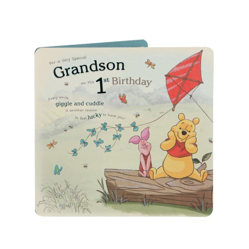 Disney Winnie The Pooh Grandson 1st Birthday Card