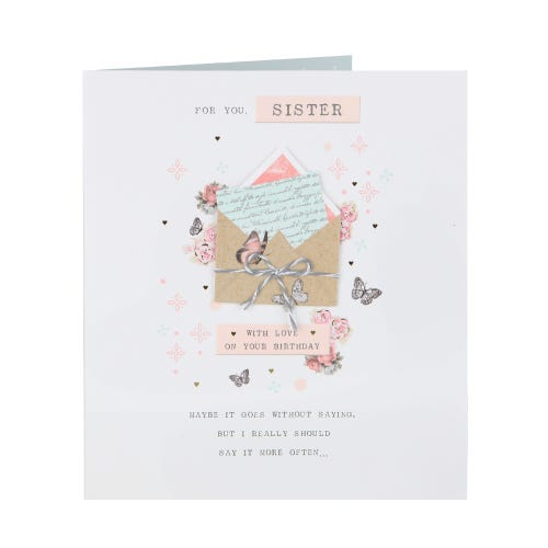 Butterfly's & Flowers Sister Birthday Card