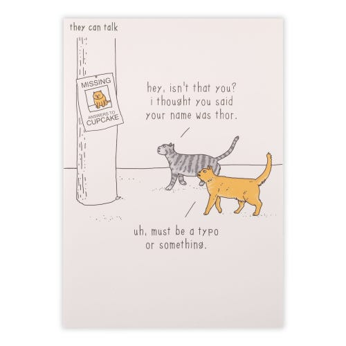 Ginger And Tabby Cat Looking At Lost Cat Sign Birthday Card
