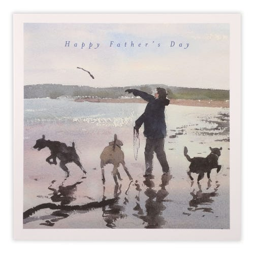 Walking dogs on beach Father's Day Card
