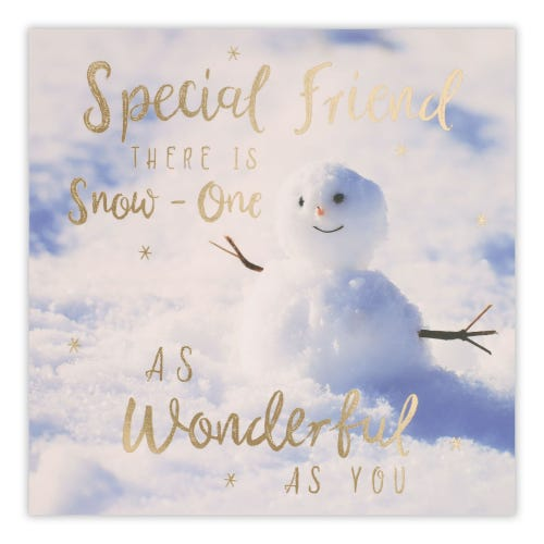 Funny snowman on the snow background Card
