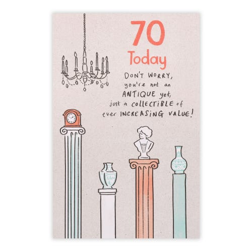 70 Today Antiques Birthday Card