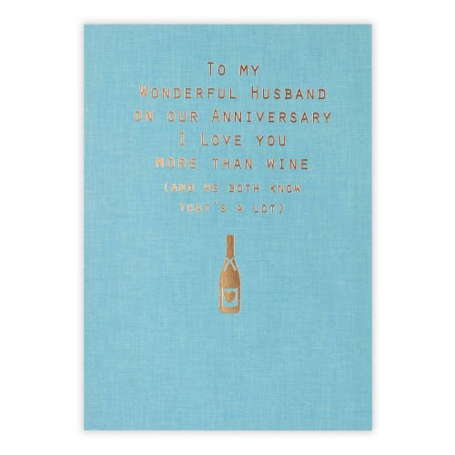 Words And Wine Husband Anniversary Card