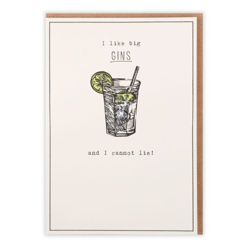 Big Gins And I Cannot Lie Humour Card