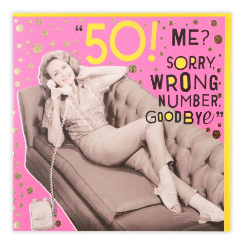 50 Woman On Phone Wrong Number Birthday Card