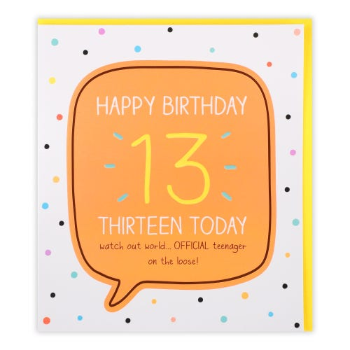 13 Thirteen Today Official Teenager Dotty Birthday Card