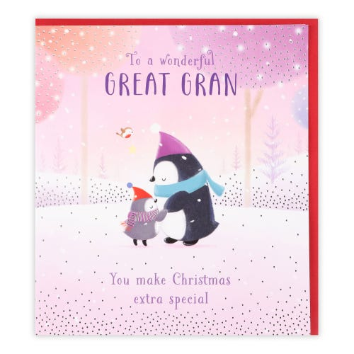 Penguins With Hats Great Gran Christmas Card
