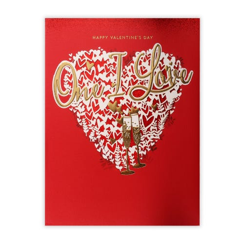 Traditional One I Love White Heart Valentines card
