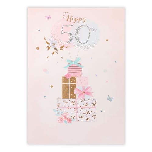 50th Balloons And Presents Birthday Card
