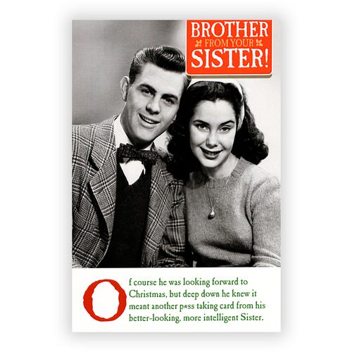 Retro Brother and Sister Christmas Card