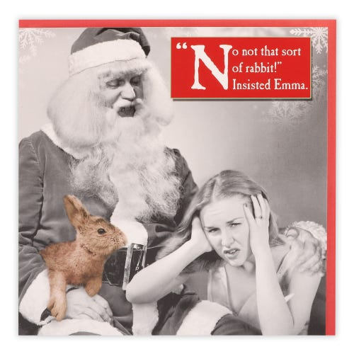 Woman looking despaired, Santa holding a rabbit