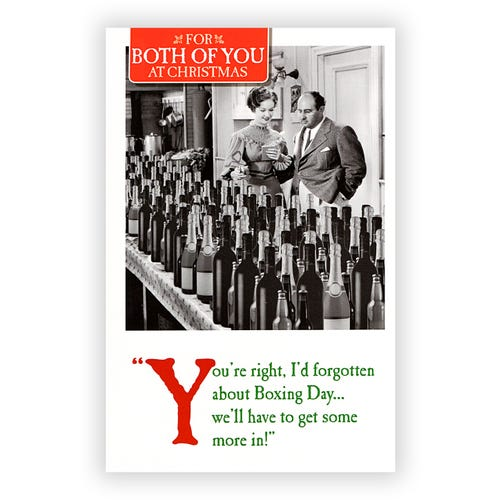 Retro Man & Woman with bottles of wine Both of You Christmas Card