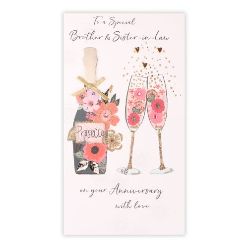 Brother & S-I-L - Floral Flutes & Champagne Anniversary Card
