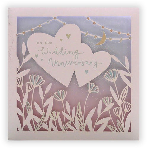 Our Wedding Anniv Flowers Hearts Card