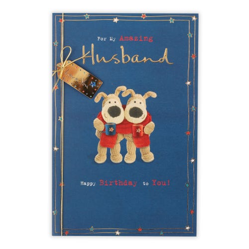 Two Boofles With A Scarf Wrapped Around Them With Mugs Birthday Card