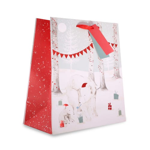 CHRISTMAS POLAR BEAR FAMILY MEDIUM BAG