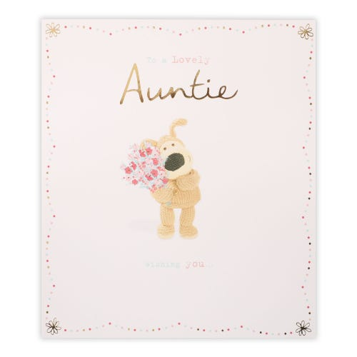 Auntie Birthday Card Boofle Holding Bouquet Of Flowers