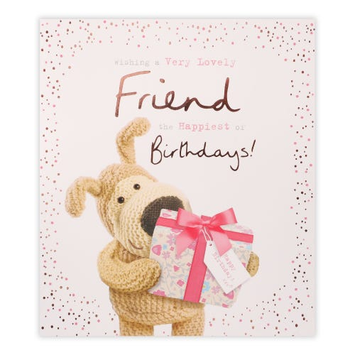 Boofle Holding Present General Birthday Card