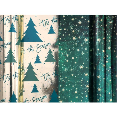 CHRISTMAS GREEN DUO 2 X 3M ROLLWRAP