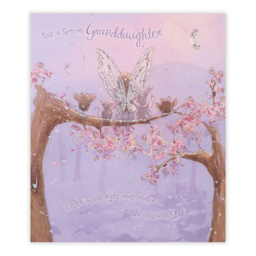 Granddaughter Fairy With Animals Birthday Card