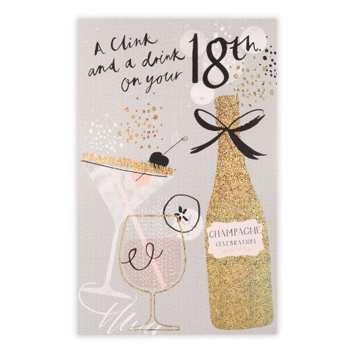 Trendy 18th Champagne And Cocktails Birthday Card