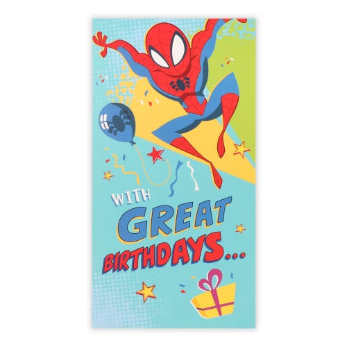 Spiderman And Presents Birthday Card