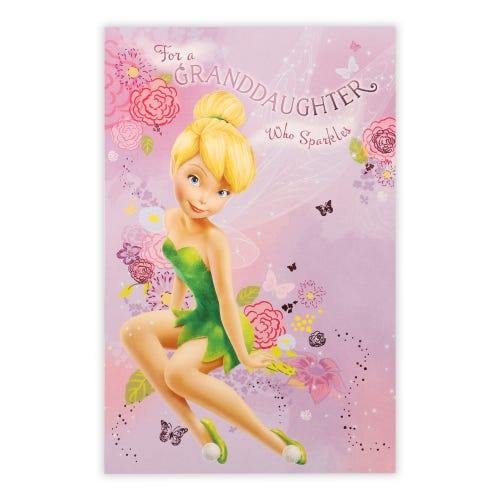 Tinkerbell With Floral & Butterflies Granddaughter Birthday Card
