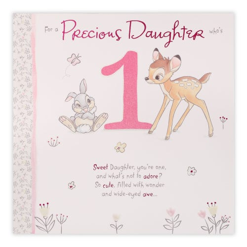 Bambi And thumper Age 1 Daughter Birthday Card