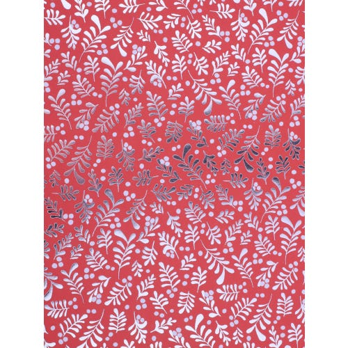 CHRISTMAS BERRIES RED BACKGROUND FLATWRAP