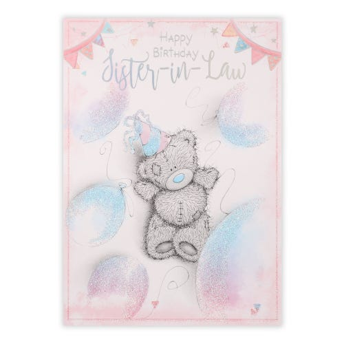 Sister In Law Bear With Balloons Birthday Card