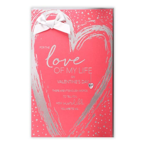 Silver Heart One I Love Valentines card