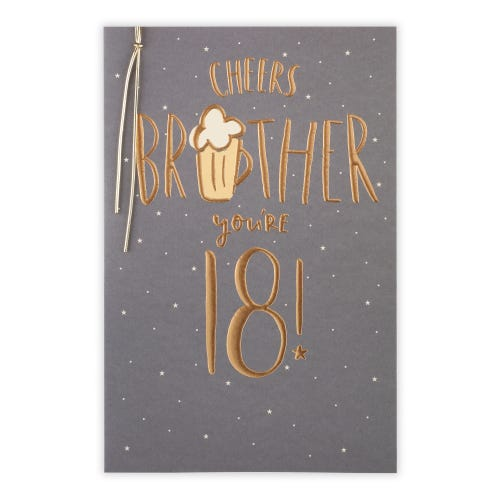 18th Brother Pint Glass Birthday Card