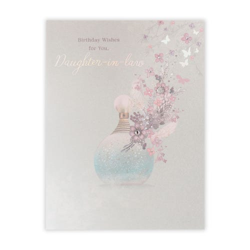Perfume Bottle With Feathers and Flowers Birthday Card