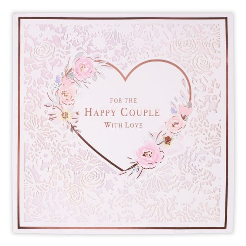 Wedding Happy Couple Floral Heart Card