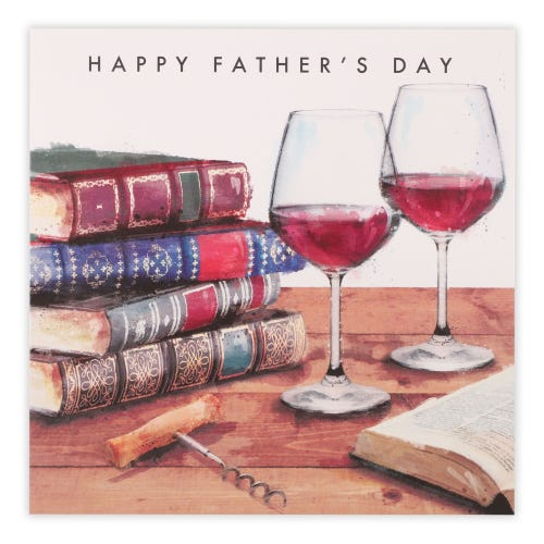 Books and wine glasses Father's Day Card