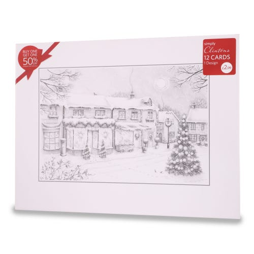 Street Scene Christmas Cards , Pack of 12, 1 Design