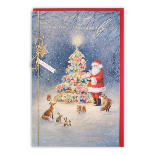 Santa & Woodland Animals To The Family Christmas Card
