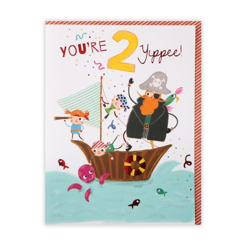 Age 2 Pirate Boat 2nd Birthday Card