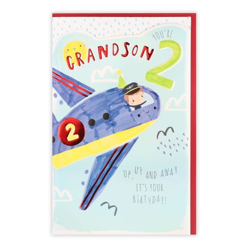 Die-Cut 2 Plane 2nd Grandson Birthday Card