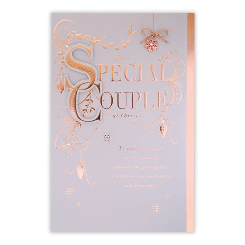 Rose Gold Foliage  To Special Couple Christmas Card