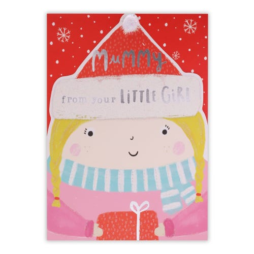 Little Girl And Present  Mummy From Daughter Christmas Card