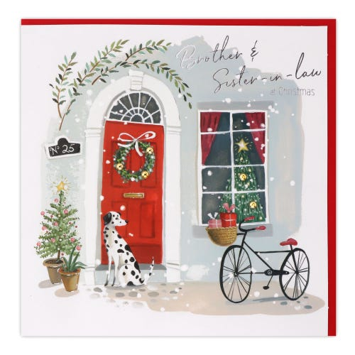 Dalmatian Dog In Doorway Brother & Sister In Law Christmas Card