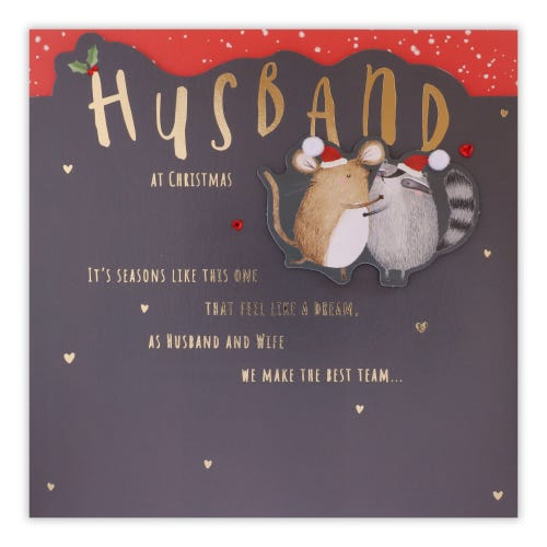 Husband Mouse & Racoon Couple Husband Christmas Card