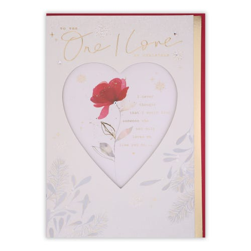 Watercolour Rose One I Love Christmas Card