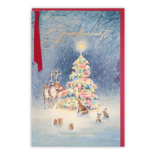 Woodland Animals & Tree Grandparents Christmas Card